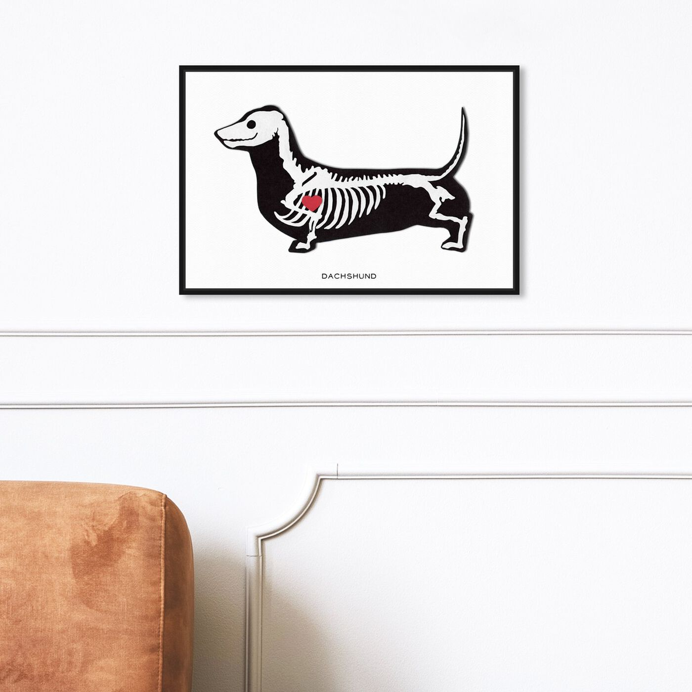 Hanging view of Dachshund Xray featuring animals and dogs and puppies art.