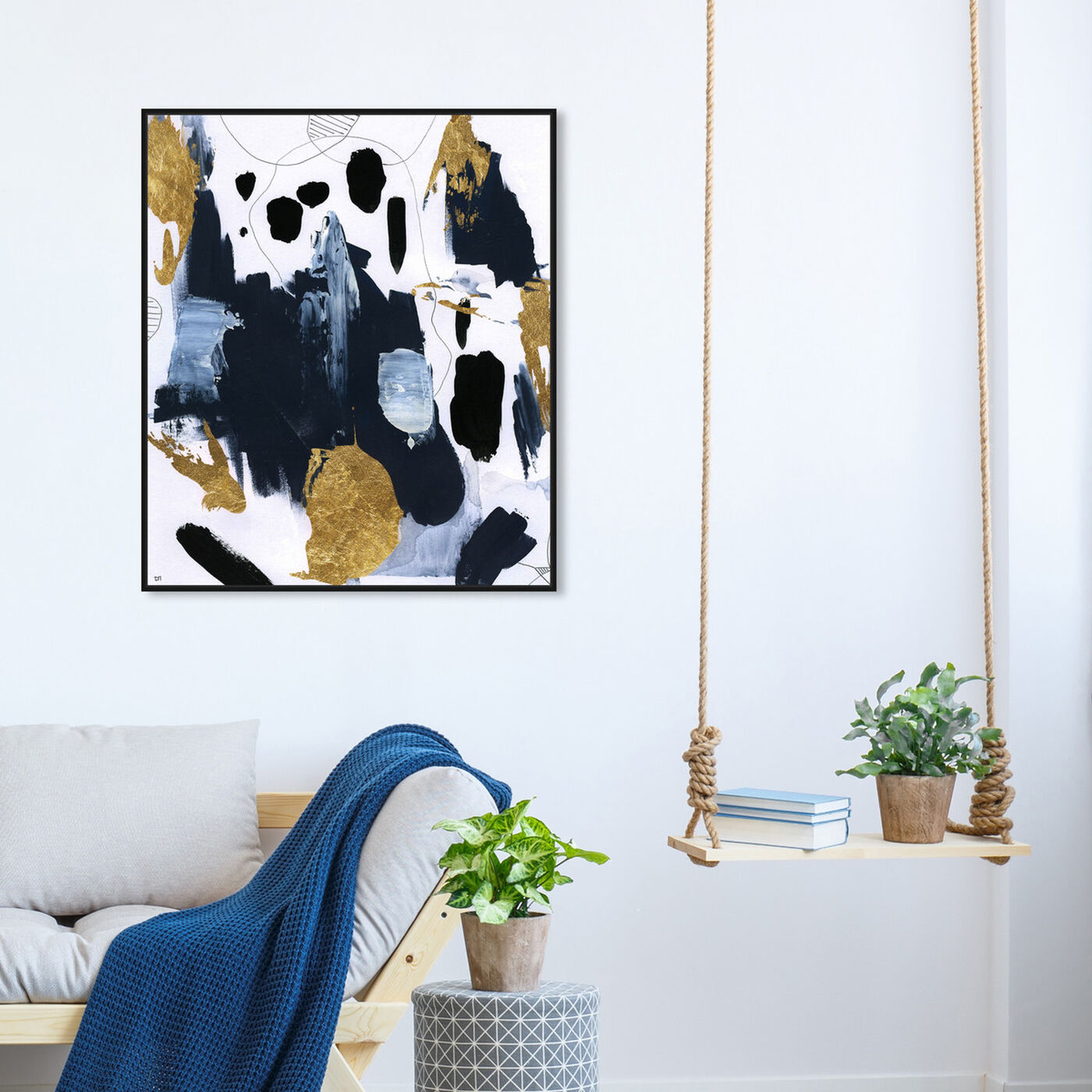 Hanging view of Fugaz featuring abstract and paint art.