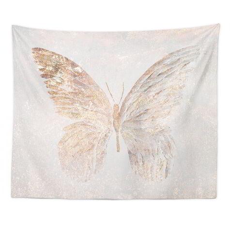 Golden Butterfly Glimmer Tapestry Art