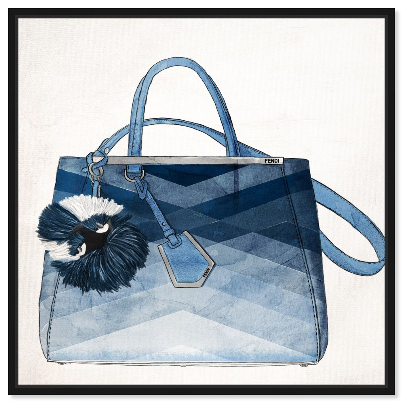Front view of Oh My Gosh It's Blue featuring fashion and glam and handbags art.