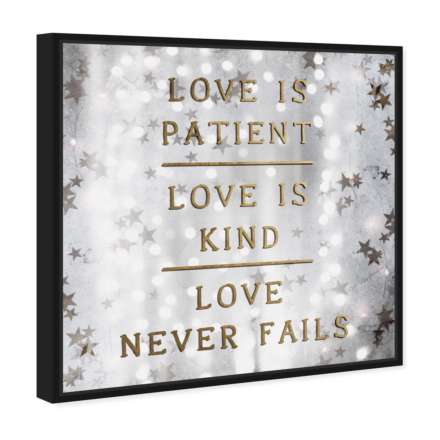 Angled view of Love is Patient Love is Kind featuring typography and quotes and love quotes and sayings art.