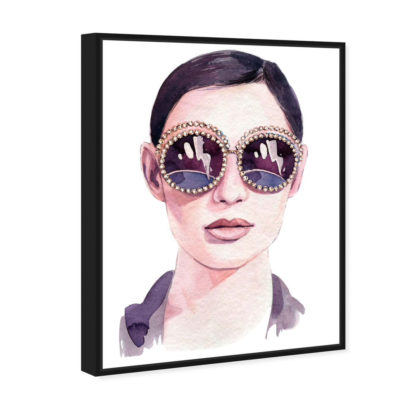 Angled view of Jeweled Sunglasses featuring fashion and glam and accessories art.