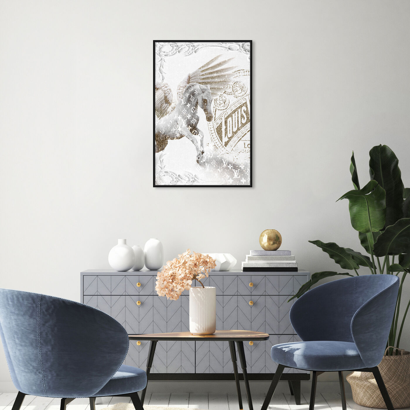 Hanging view of Double Vision 1 featuring fashion and glam and travel essentials art.