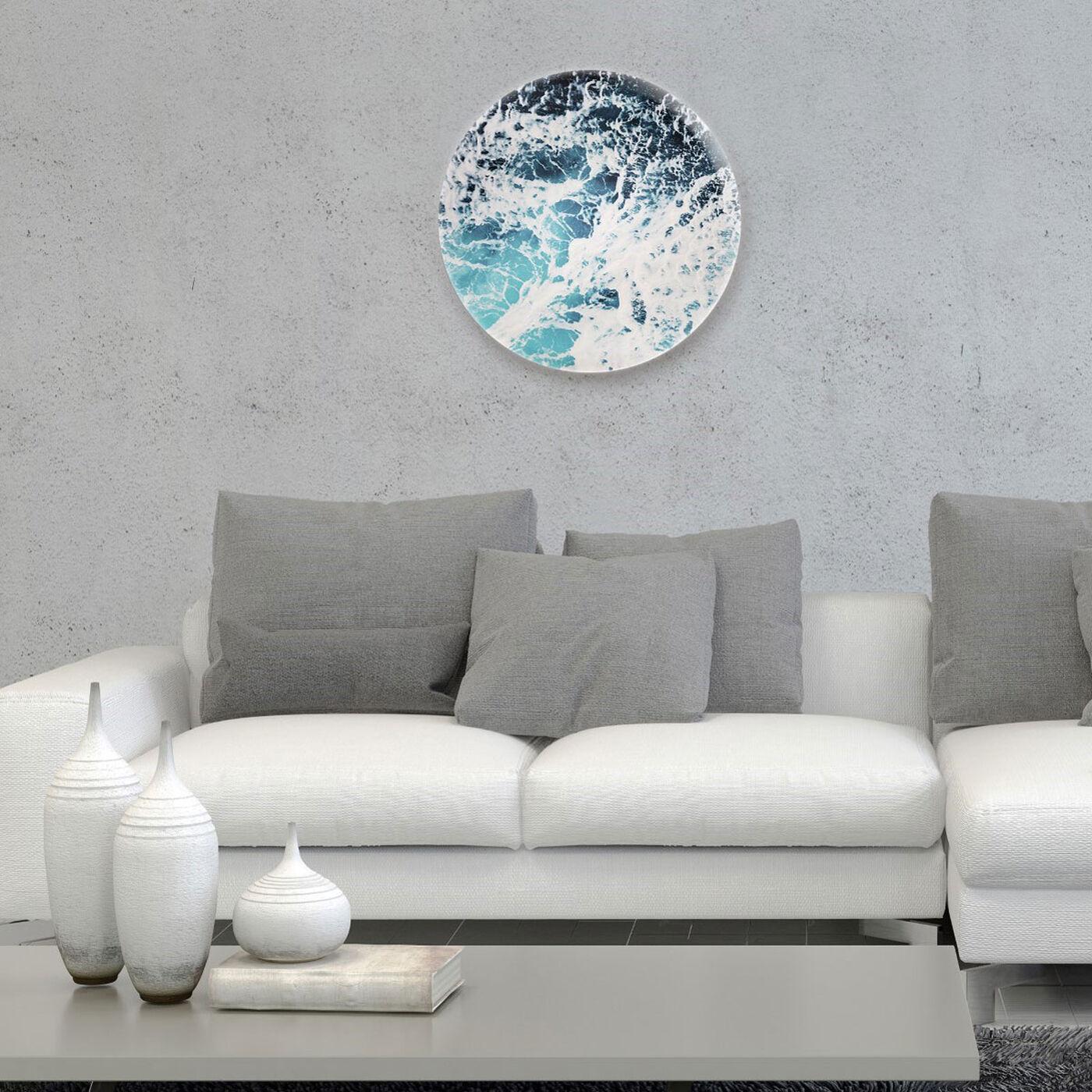 Hanging view of Mykonos Water II Circle featuring nautical and coastal and coastal art.