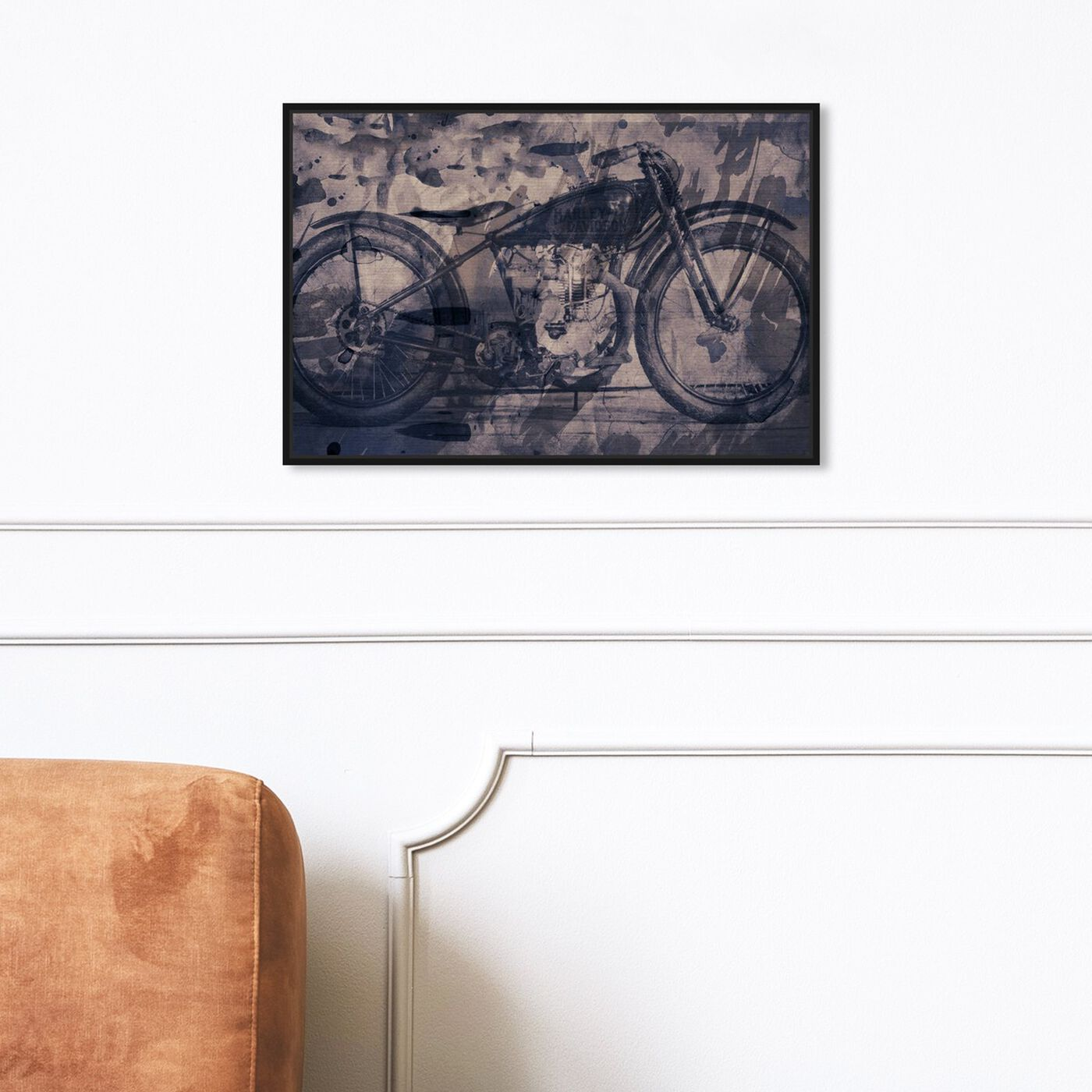 Hanging view of Vintage Bike featuring transportation and motorcycles art.