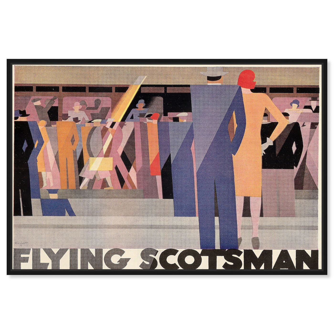 Front view of Flying Scotsman featuring advertising and posters art.
