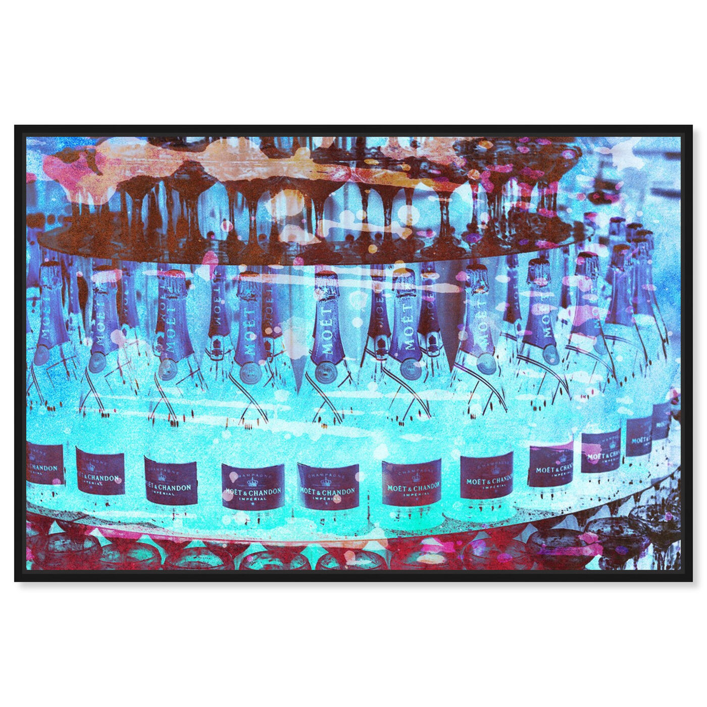 Front view of Bubbly Cake featuring drinks and spirits and champagne art.