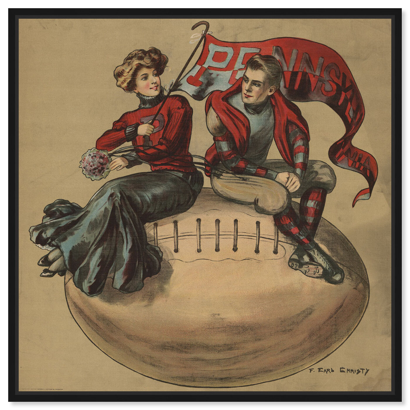 Front view of Pennsylvania Vintage College Football featuring sports and teams and football art.