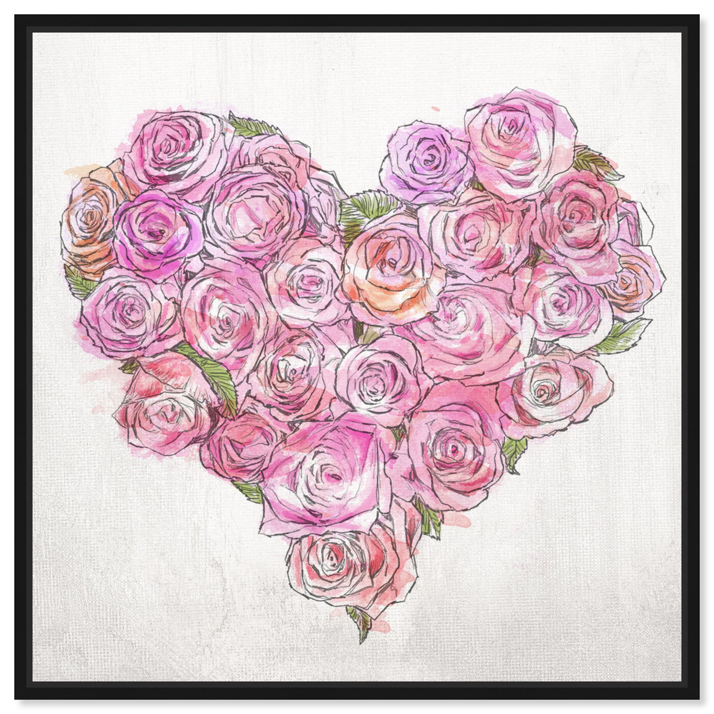 Front view of Heart of Roses featuring floral and botanical and florals art.