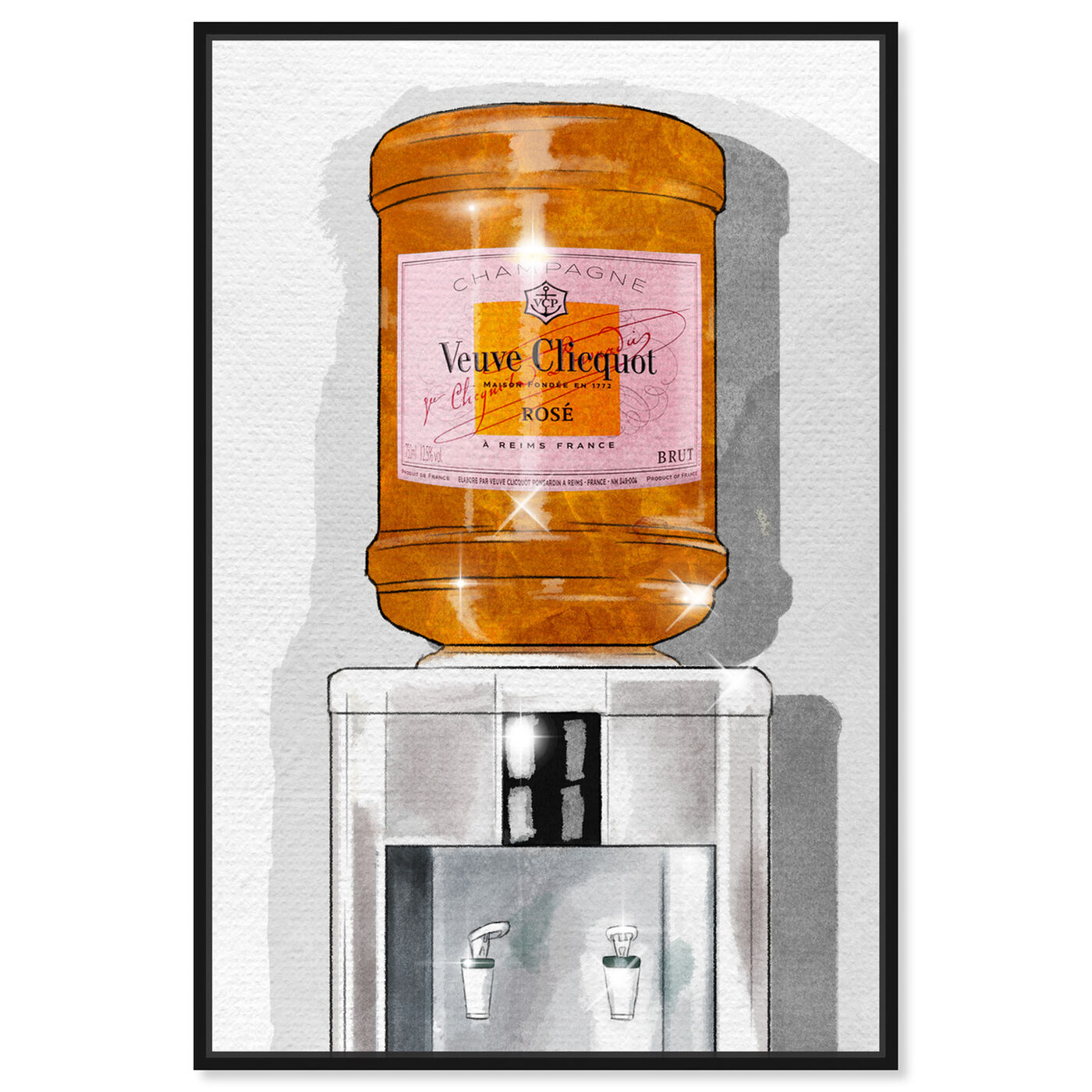 Front view of Parisian Orange Champagne Watercooler featuring fashion and glam and lifestyle art.