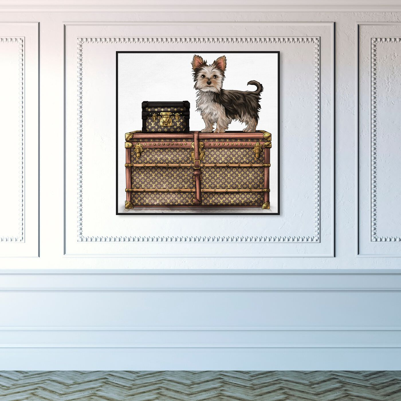 Hanging view of Travelling Yorkie featuring fashion and glam and travel essentials art.