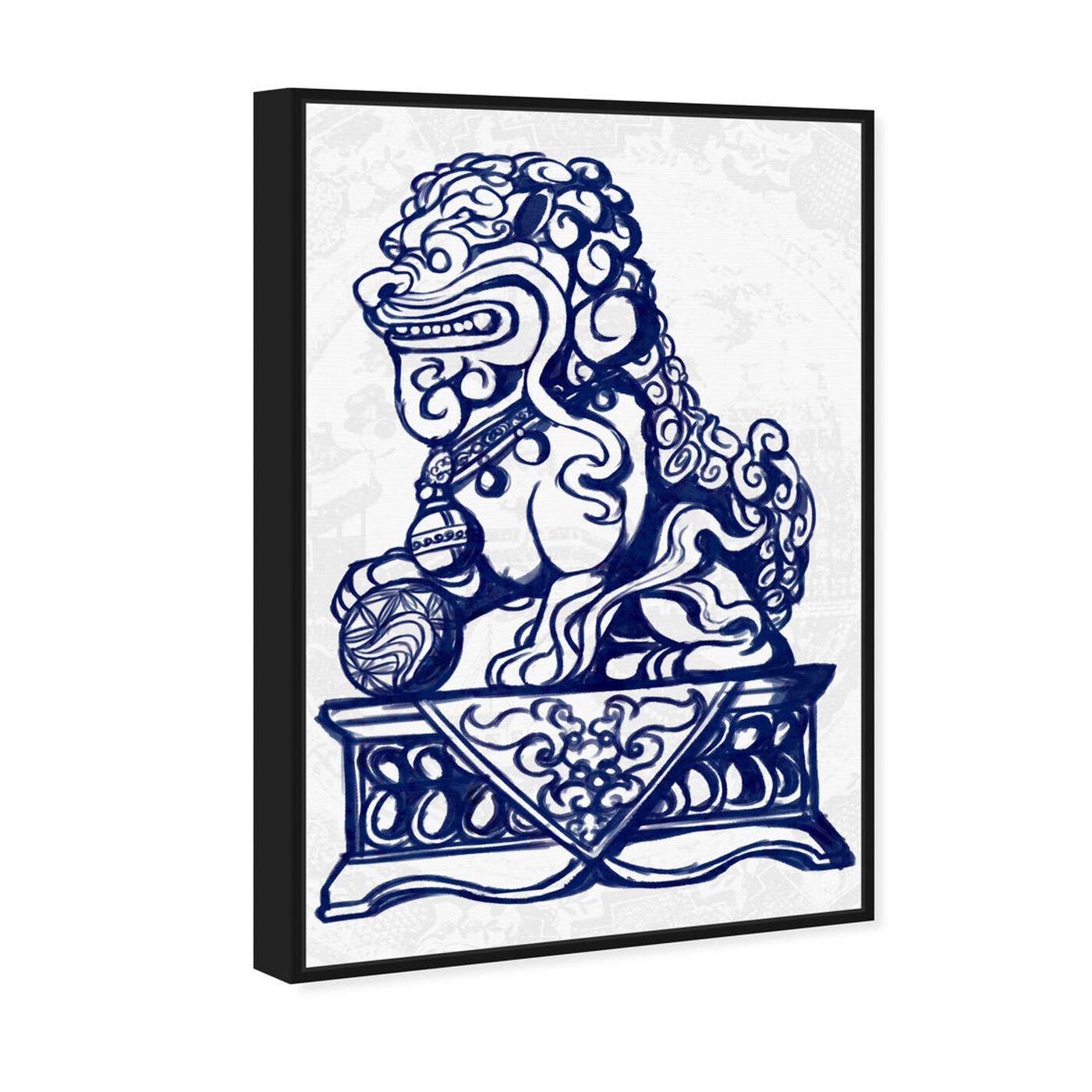 Angled view of Julianne Taylor Style - Foo Dog Navy featuring world and countries and asian cultures art.