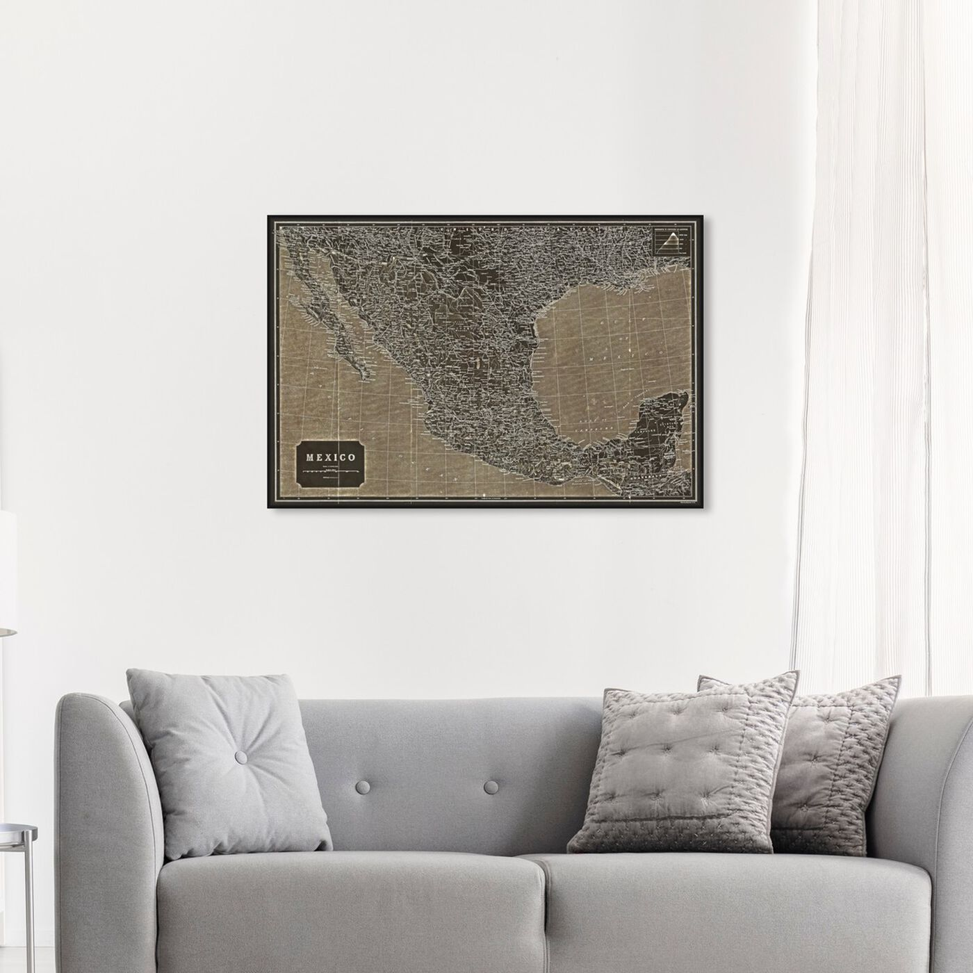 Hanging view of Mexico 1919 Map featuring maps and flags and american countries maps art.