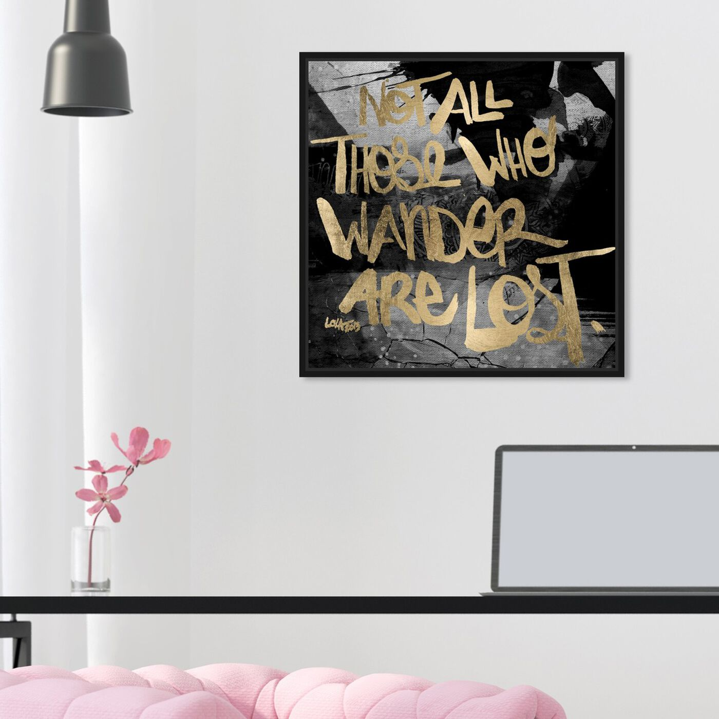 Hanging view of Not Lost featuring typography and quotes and inspirational quotes and sayings art.