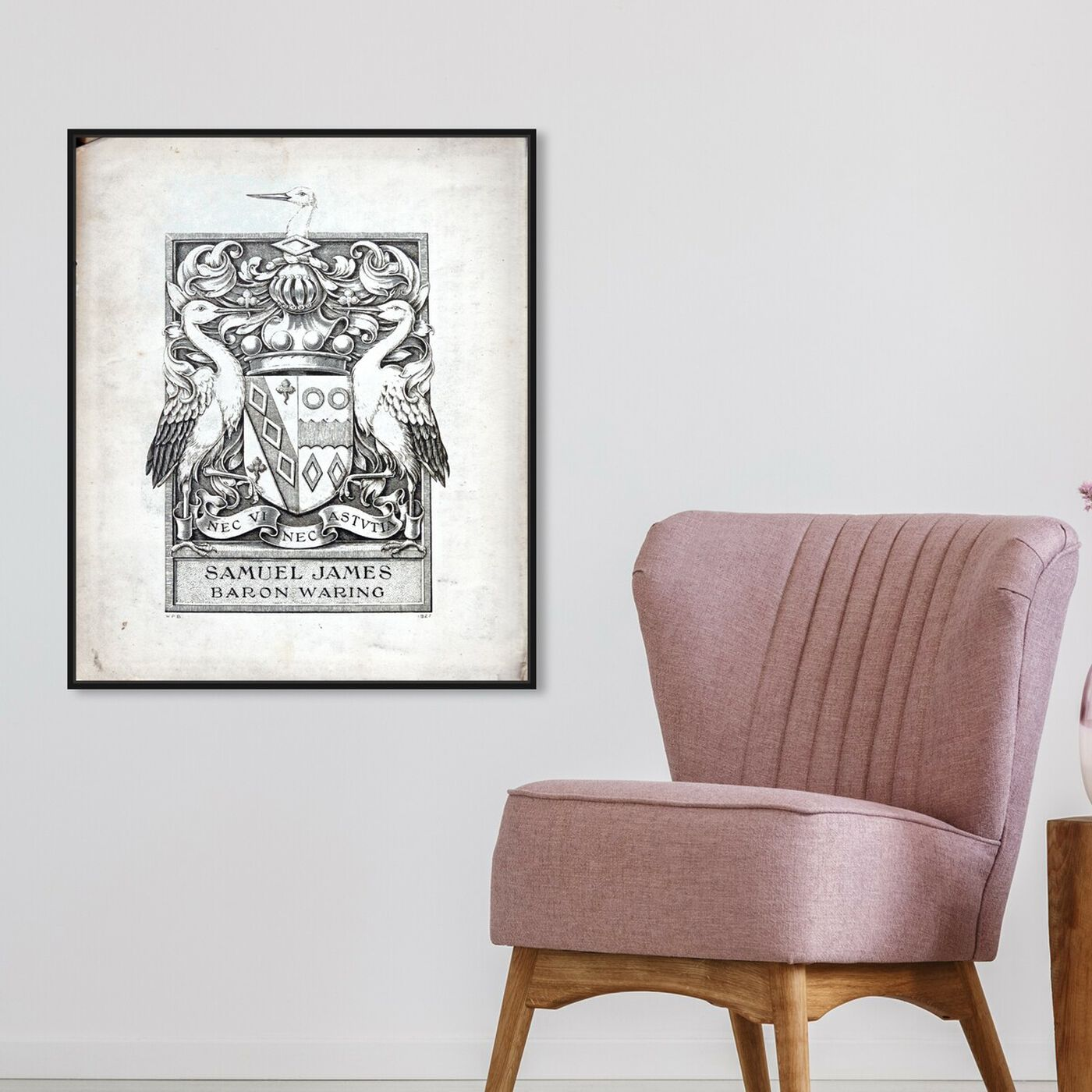 Hanging view of Armorial Engravings III featuring symbols and objects and calligraphy art.