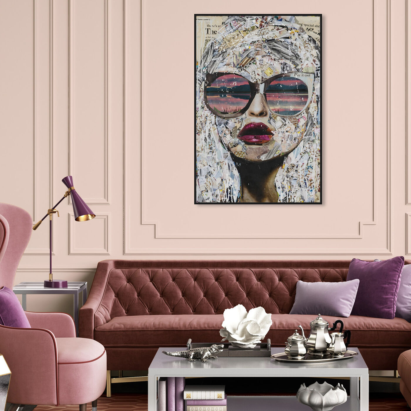 Hanging view of Katy Hirschfeld - Timing is Pink Too featuring fashion and glam and portraits art.