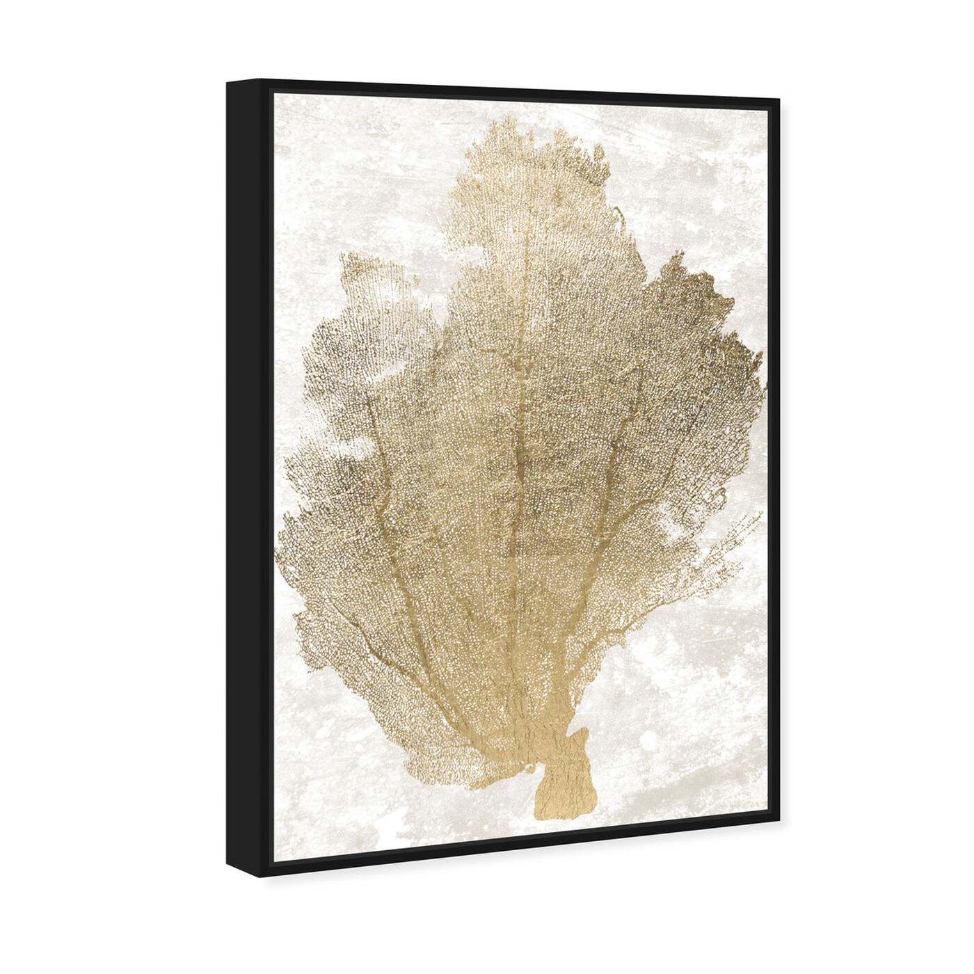 Angled view of Gold Coral Fan 2 featuring nautical and coastal and marine life art.