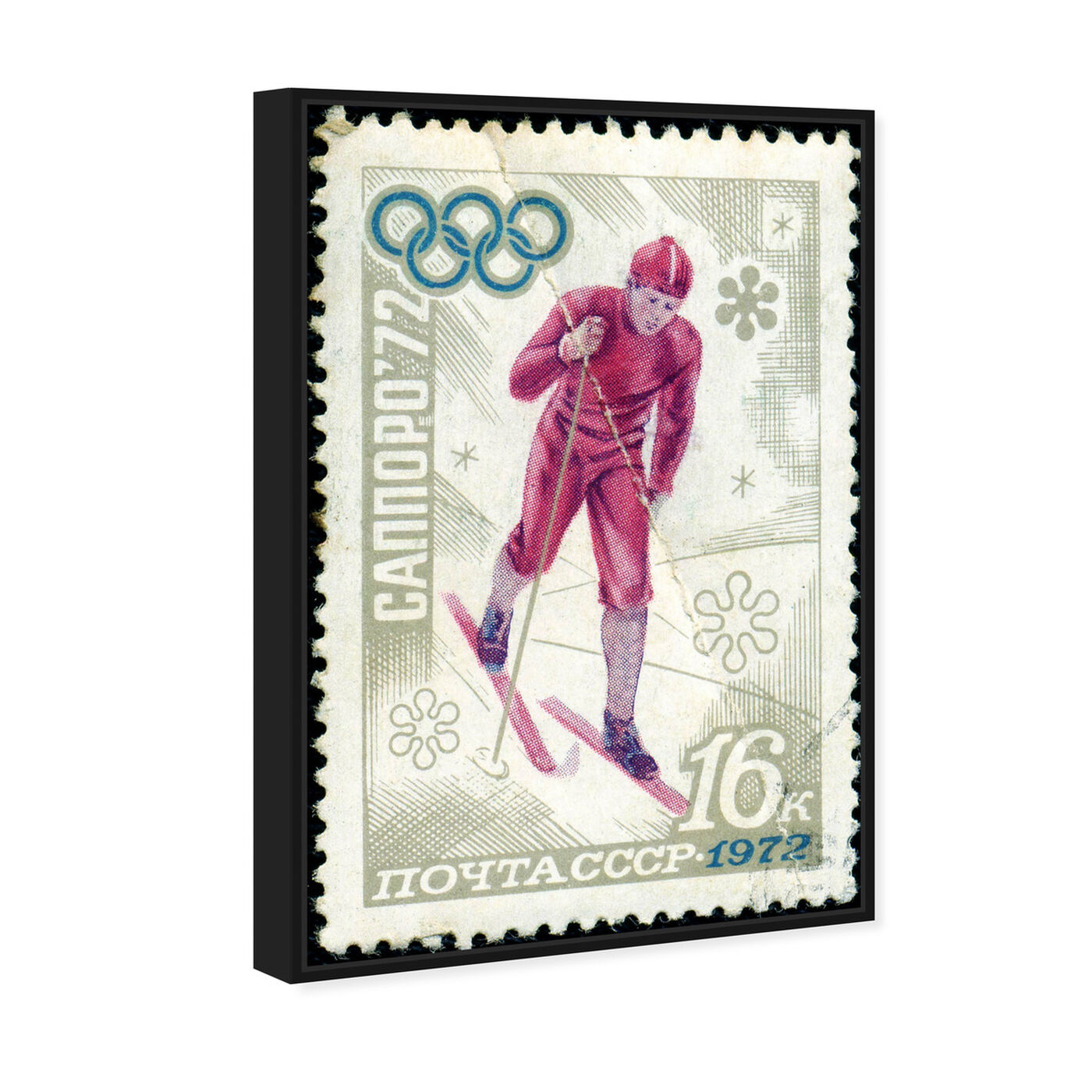 Angled view of Winter of 1972 featuring sports and teams and skiing art.
