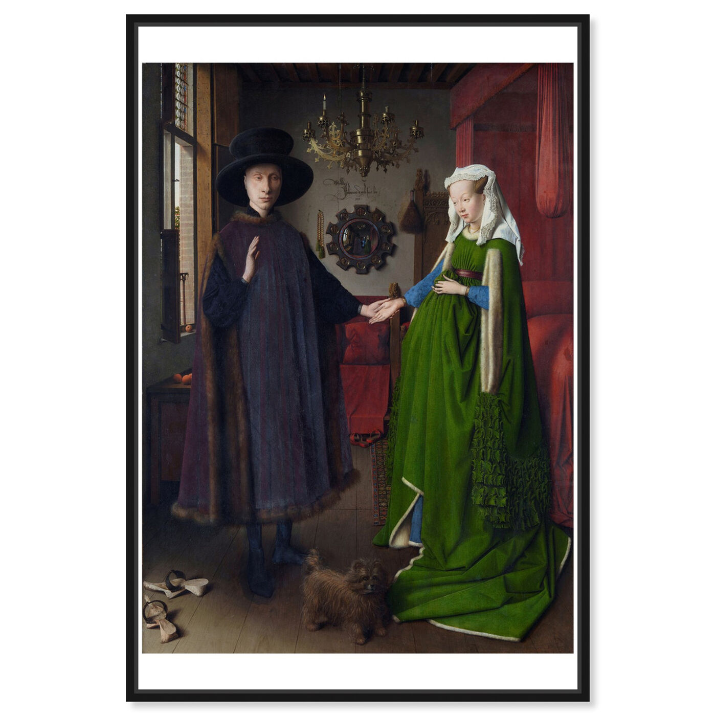 Front view of Van Eyck - Arnolfini Portrait featuring classic and figurative and renaissance art.