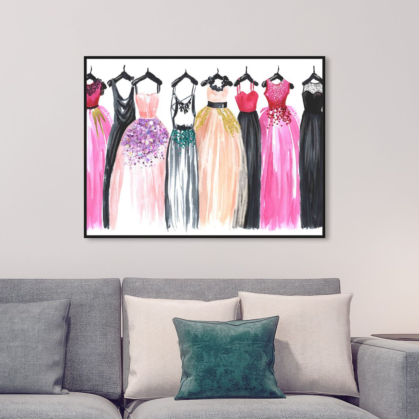 Hanging view of Our Glam Dresses featuring fashion and glam and sketches art.