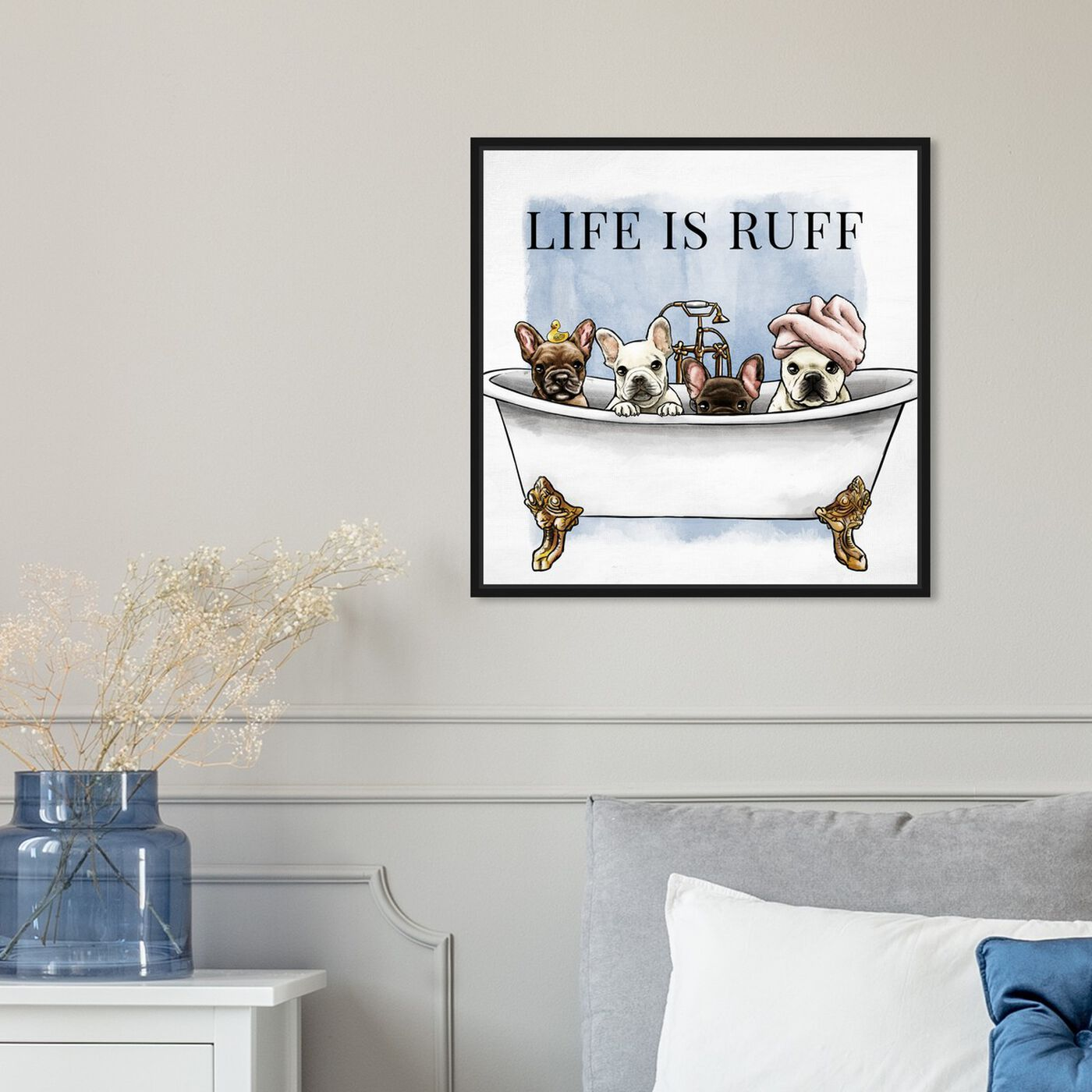 Hanging view of Life is Ruff featuring bath and laundry and bathtubs art.