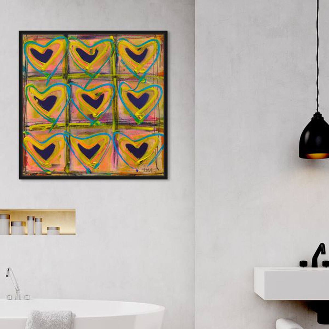 Hanging view of Nove by Tiago Magro featuring fashion and glam and hearts art.