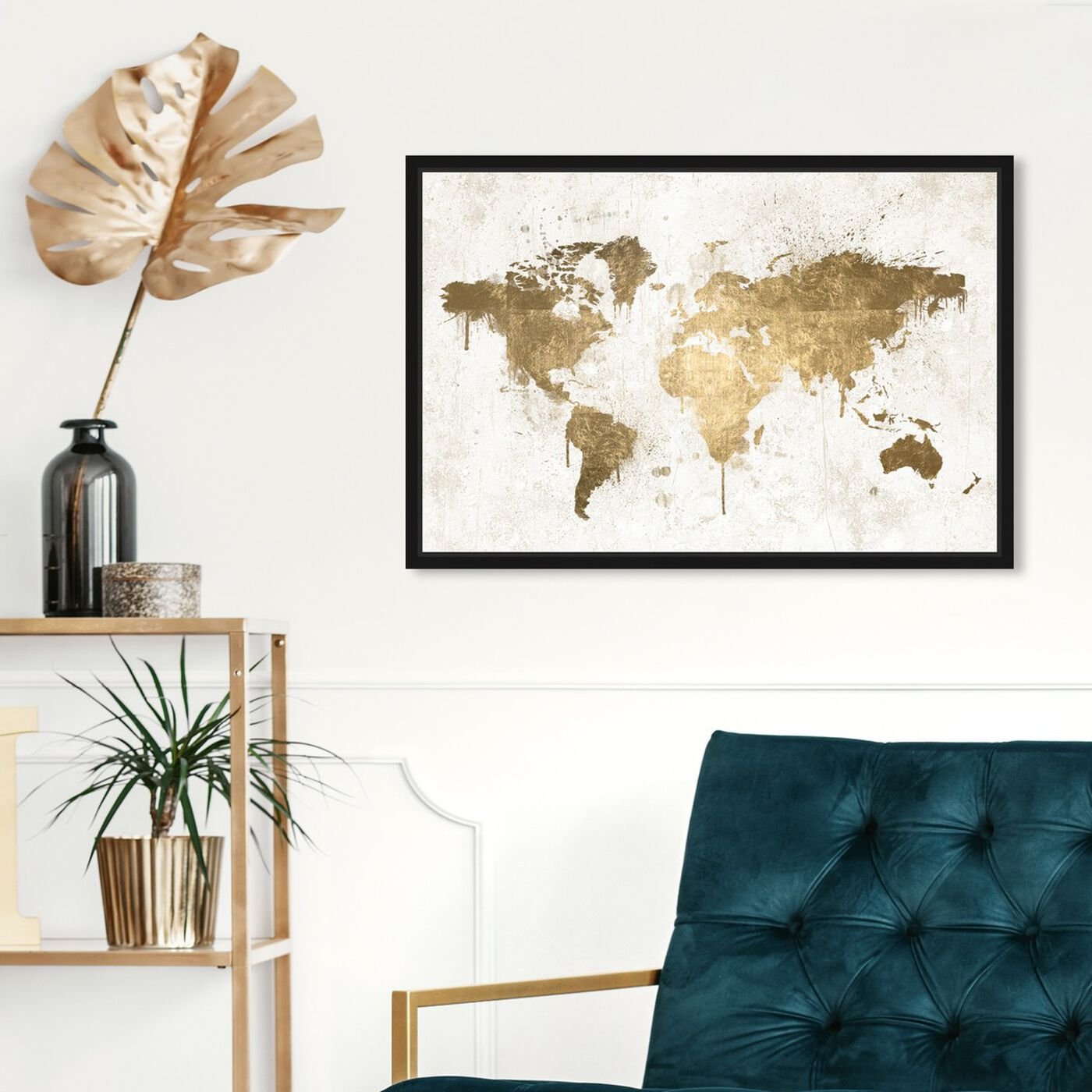 Hanging view of Mapamundi White Gold featuring maps and flags and world maps art.