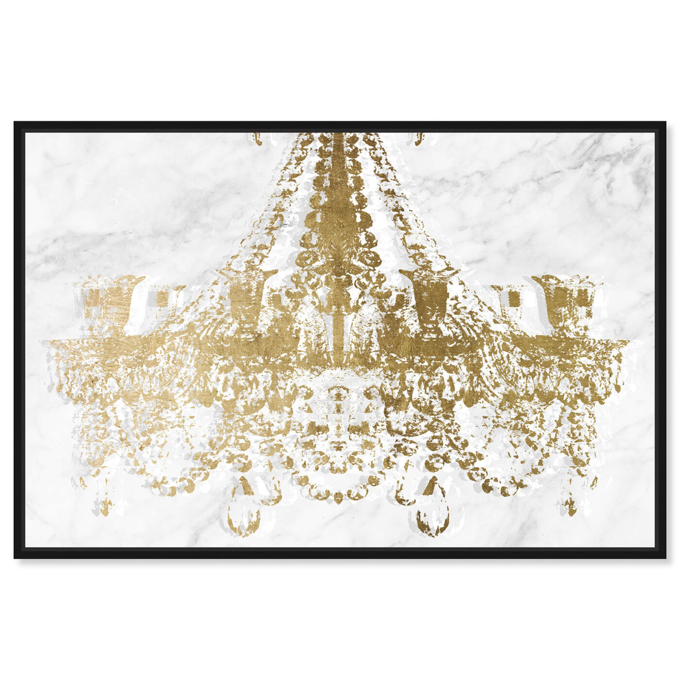 Front view of Dramatic Entrance Marble and Gold featuring fashion and glam and chandeliers art.