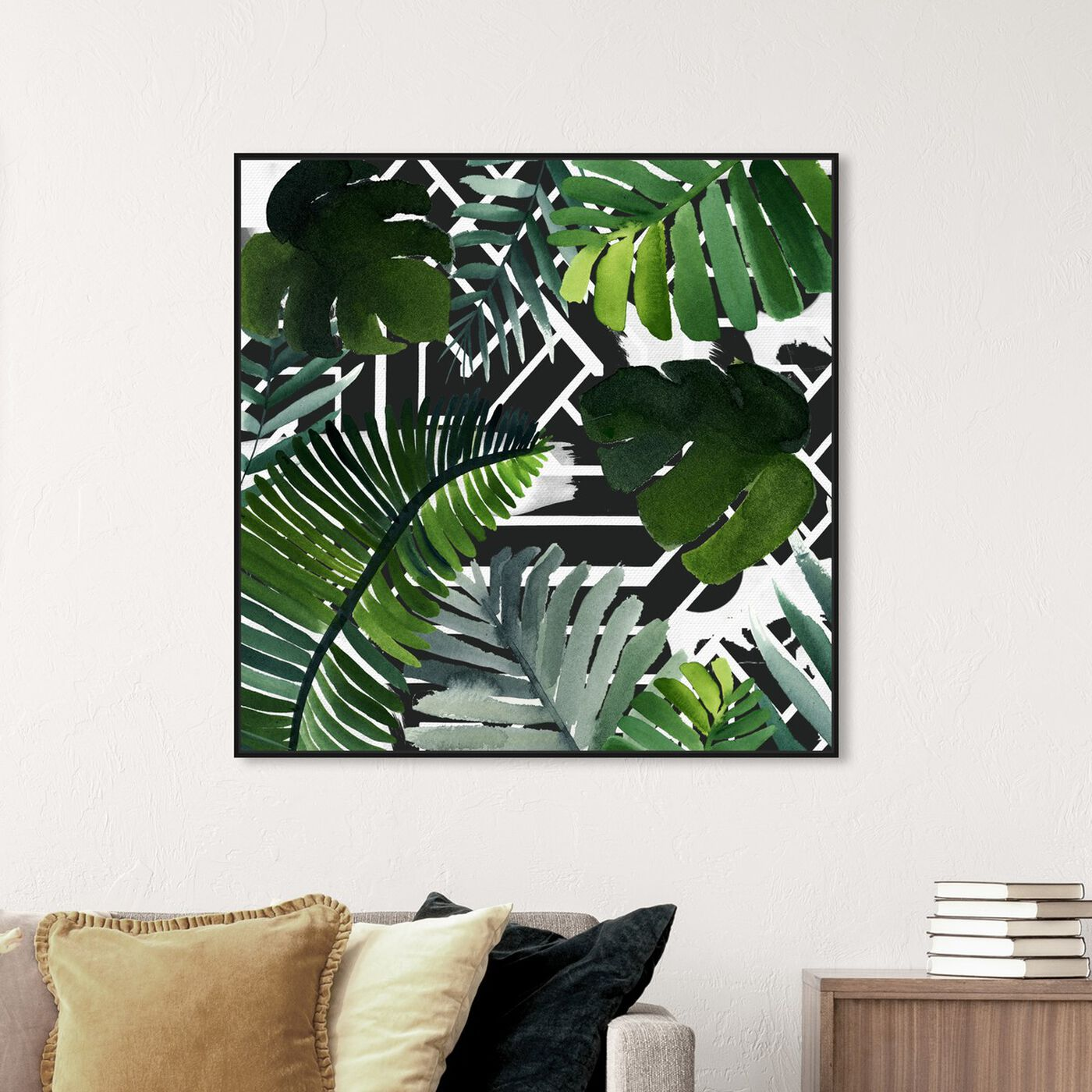 Hanging view of Introspect Palm Leaves Black featuring floral and botanical and botanicals art.