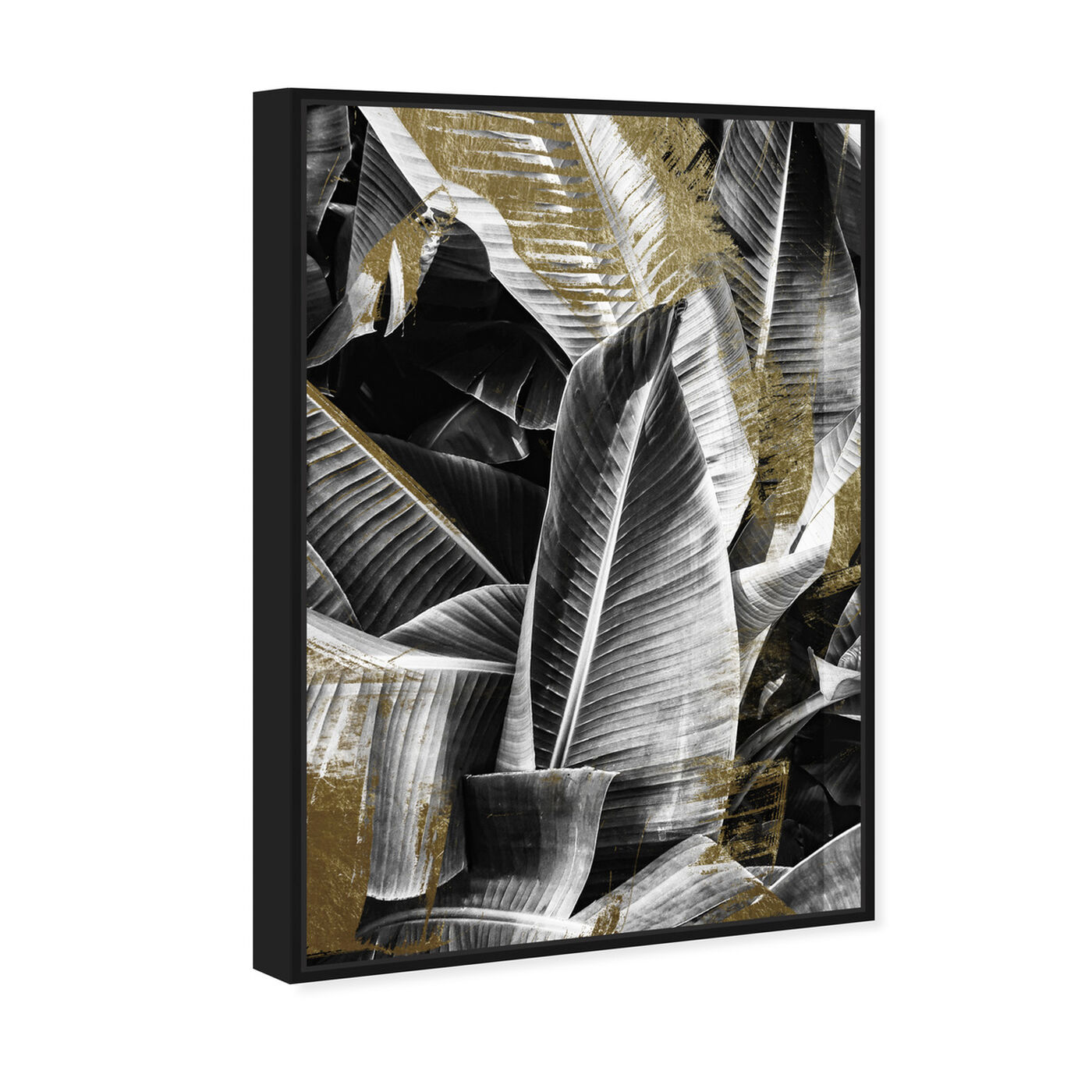 Angled view of Banana Leaf Night Gold featuring floral and botanical and botanicals art.
