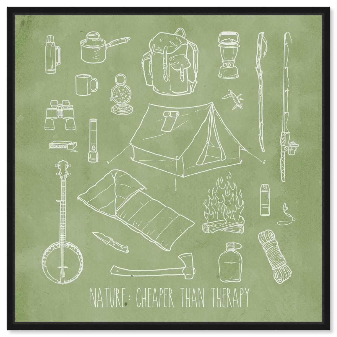 Front view of Cheaper than Therapy featuring entertainment and hobbies and camping art.