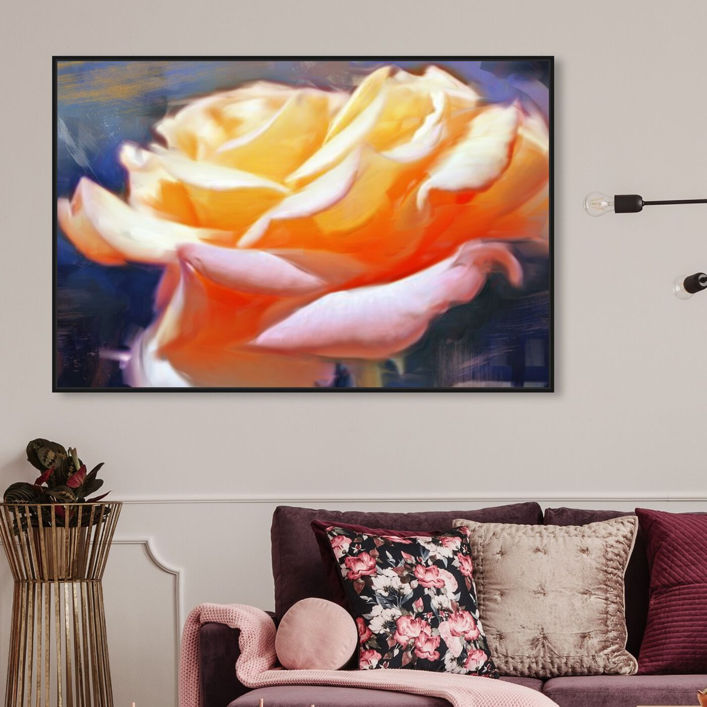 Hanging view of Blush Rose featuring floral and botanical and florals art.