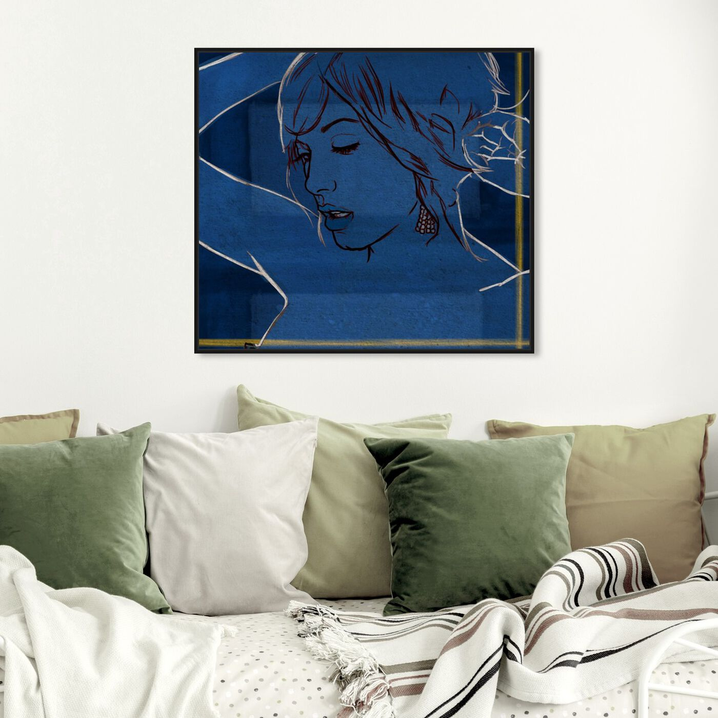 Hanging view of Got the Blues featuring fashion and glam and portraits art.