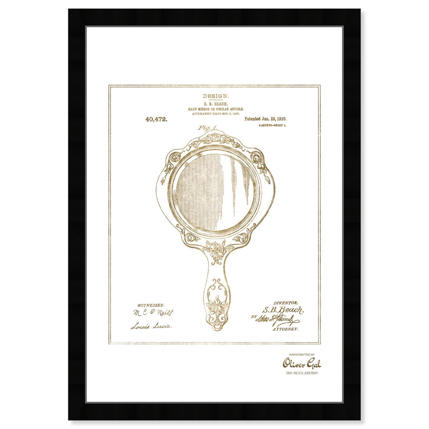 Front view of Hand Mirror 1910 II Gold featuring fashion and glam and makeup art.