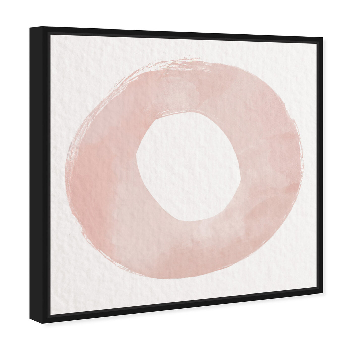 Angled view of O of XO Blush featuring abstract and geometric art.