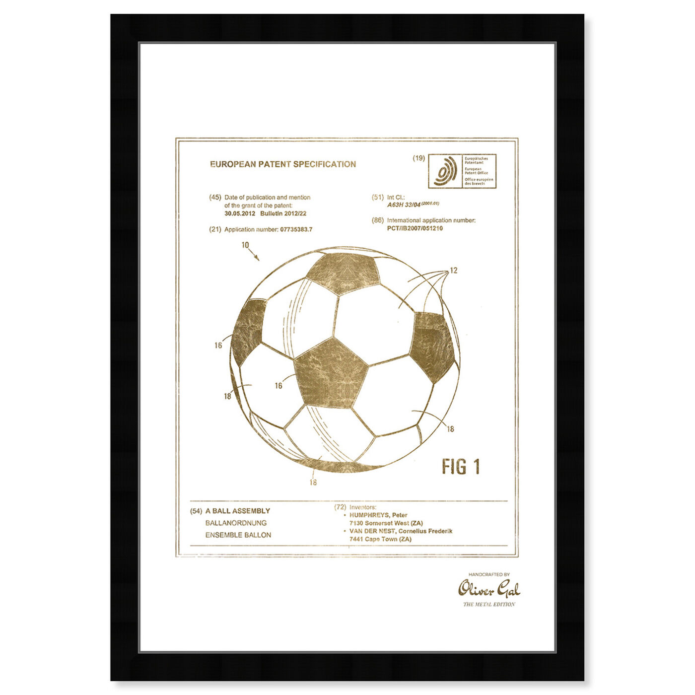 Front view of soccer ball 2012 Gold featuring sports and teams and soccer art.