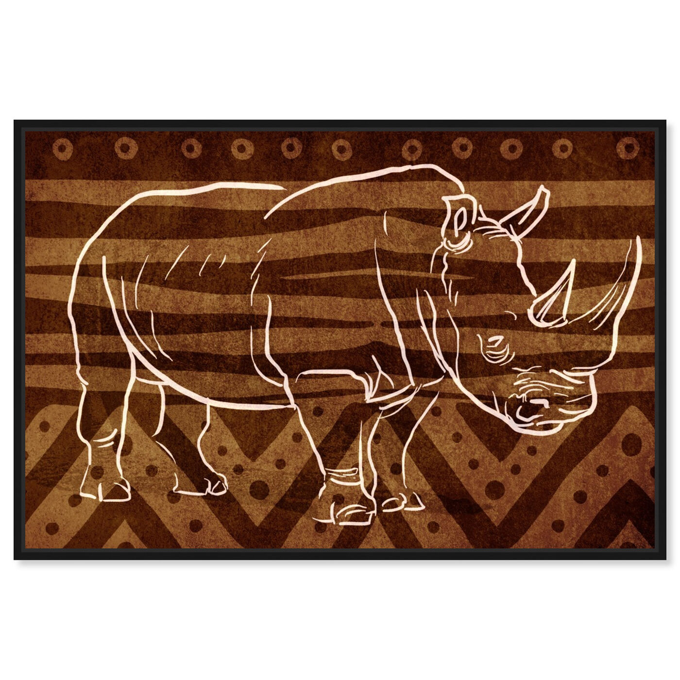 Front view of Copper Rhino featuring animals and zoo and wild animals art.