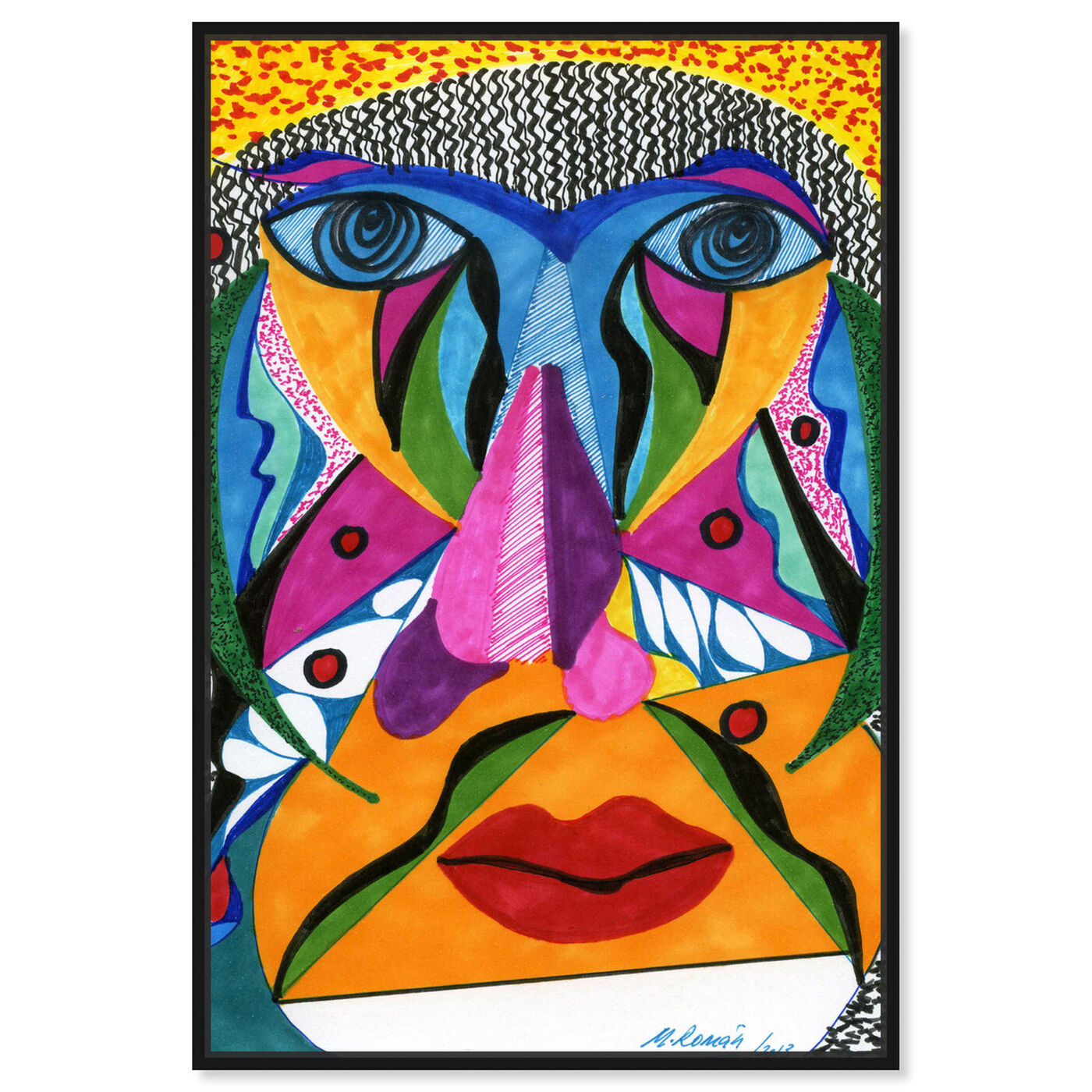Front view of Her Face featuring abstract and textures art.