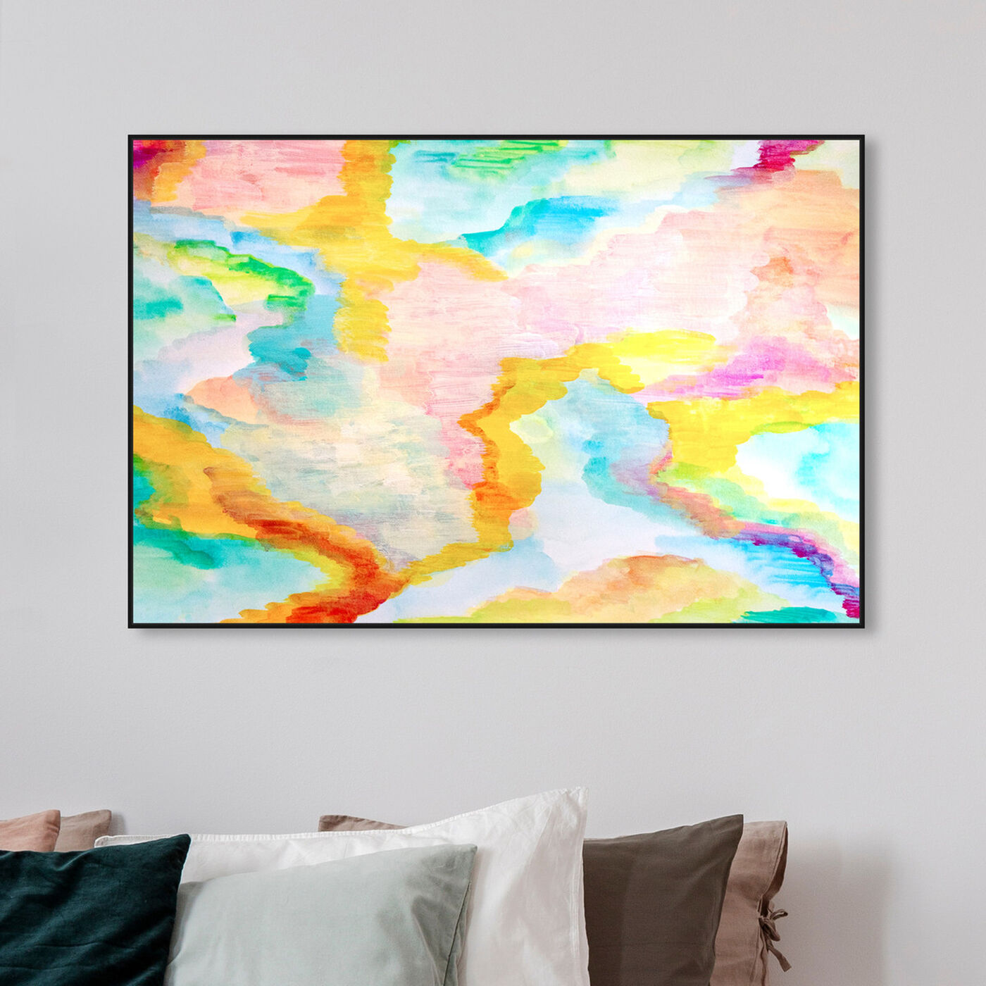 Hanging view of Rainbow Fall Showers featuring abstract and paint art.