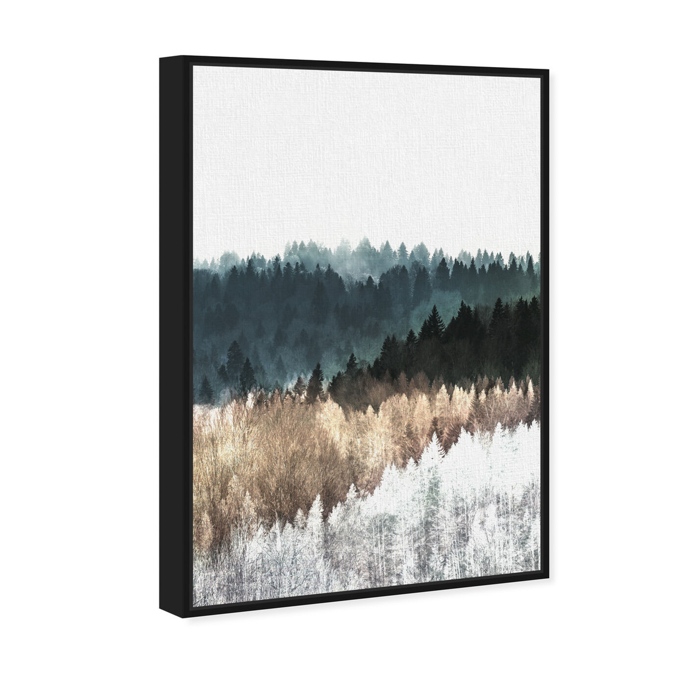 Angled view of Pine Forest Watercolor featuring nature and landscape and forest landscapes art.