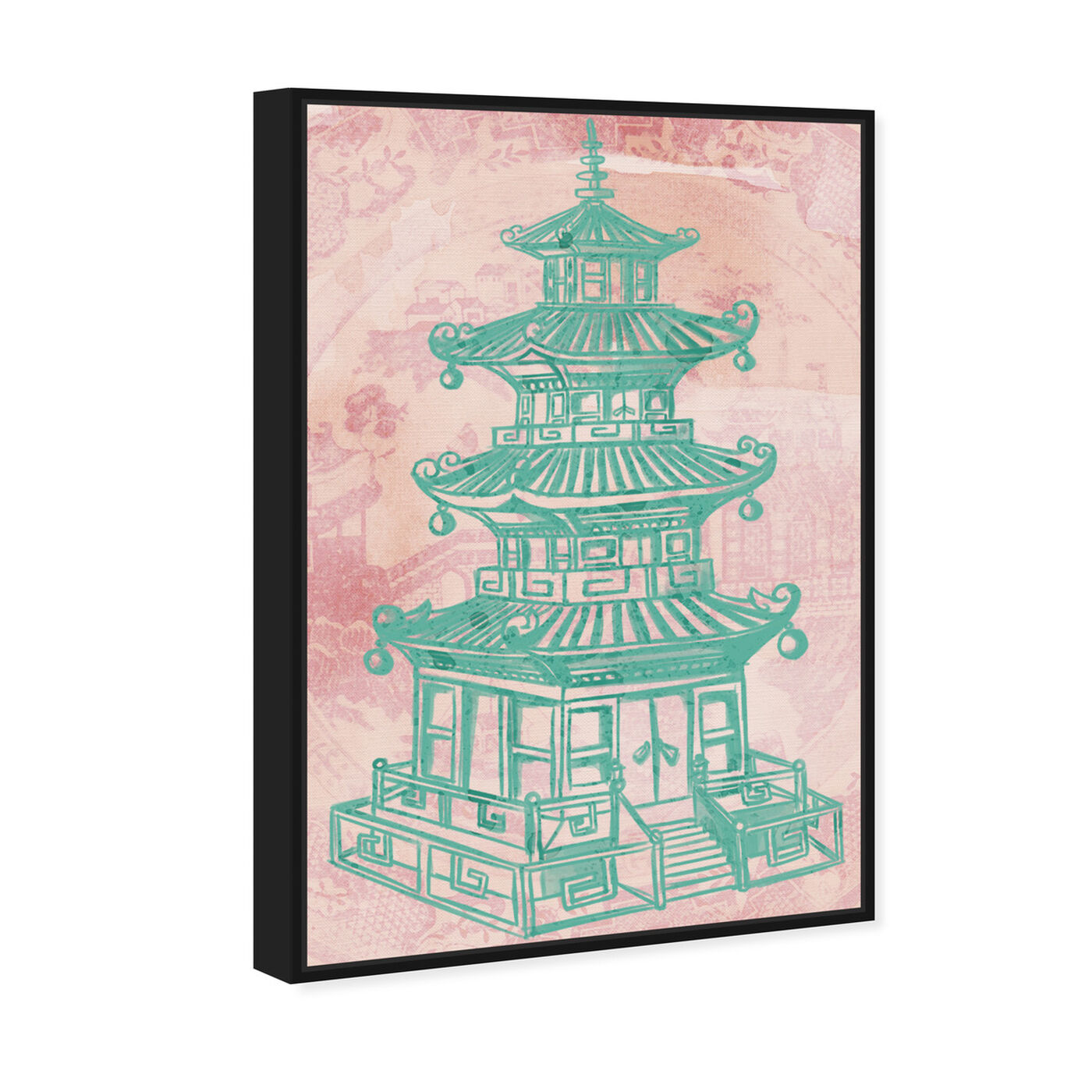 Angled view of Pagoda Rose featuring world and countries and asian cultures art.