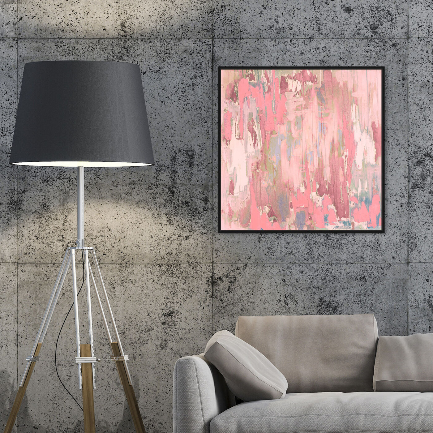 Hanging view of Marissa Anderson - Blush Swan Lake featuring abstract and paint art.