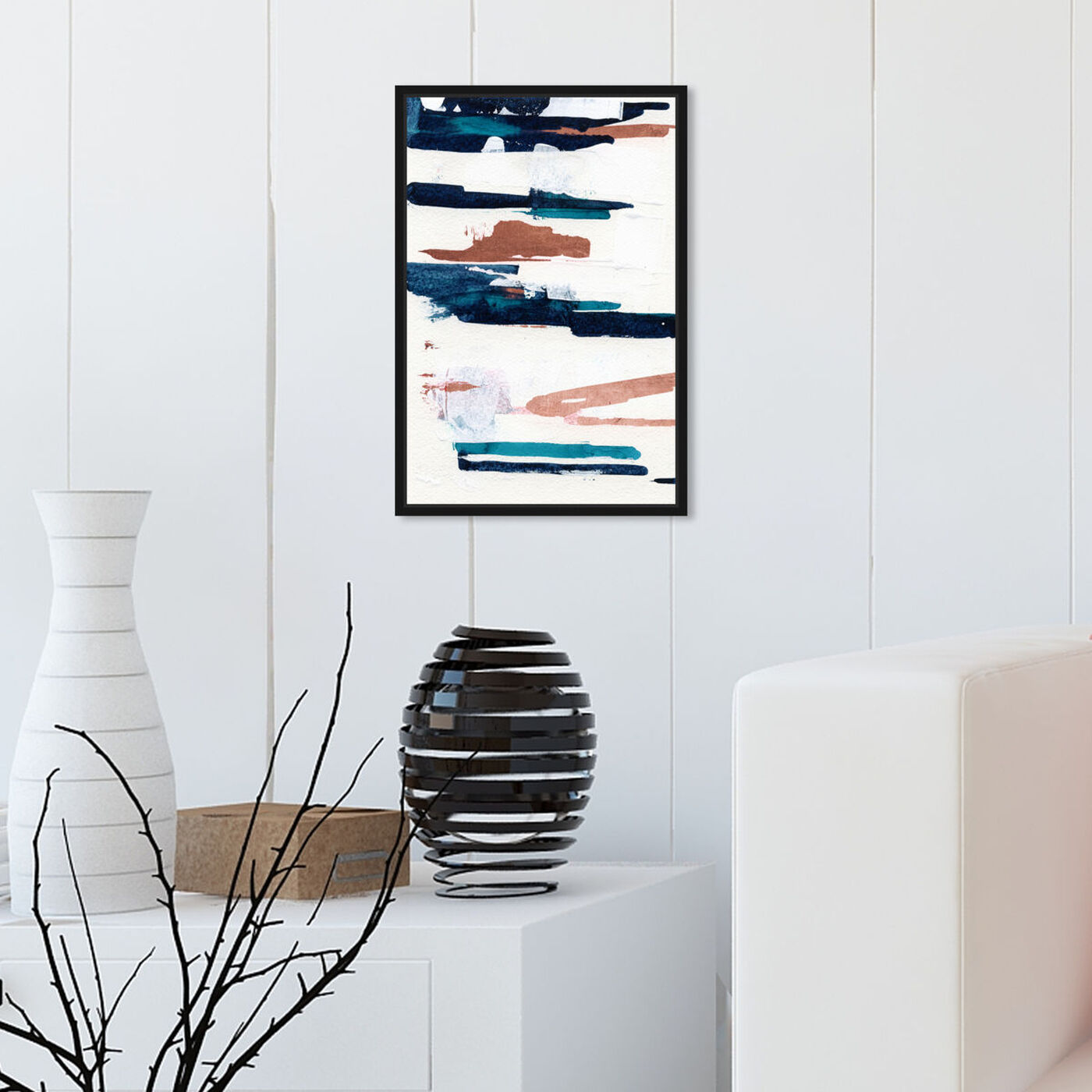 Hanging view of Perfect Couple Copper featuring abstract and paint art.