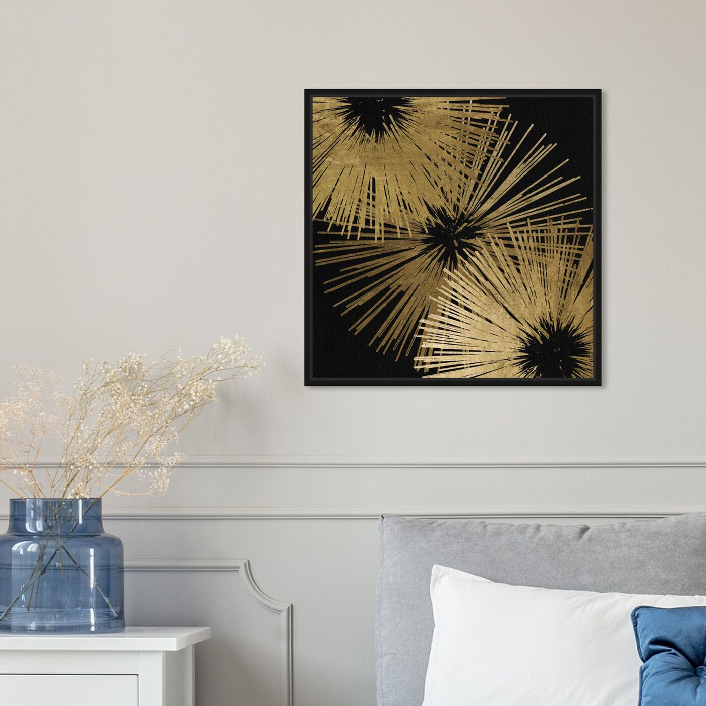Hanging view of Sunburst Glam featuring abstract and shapes art.
