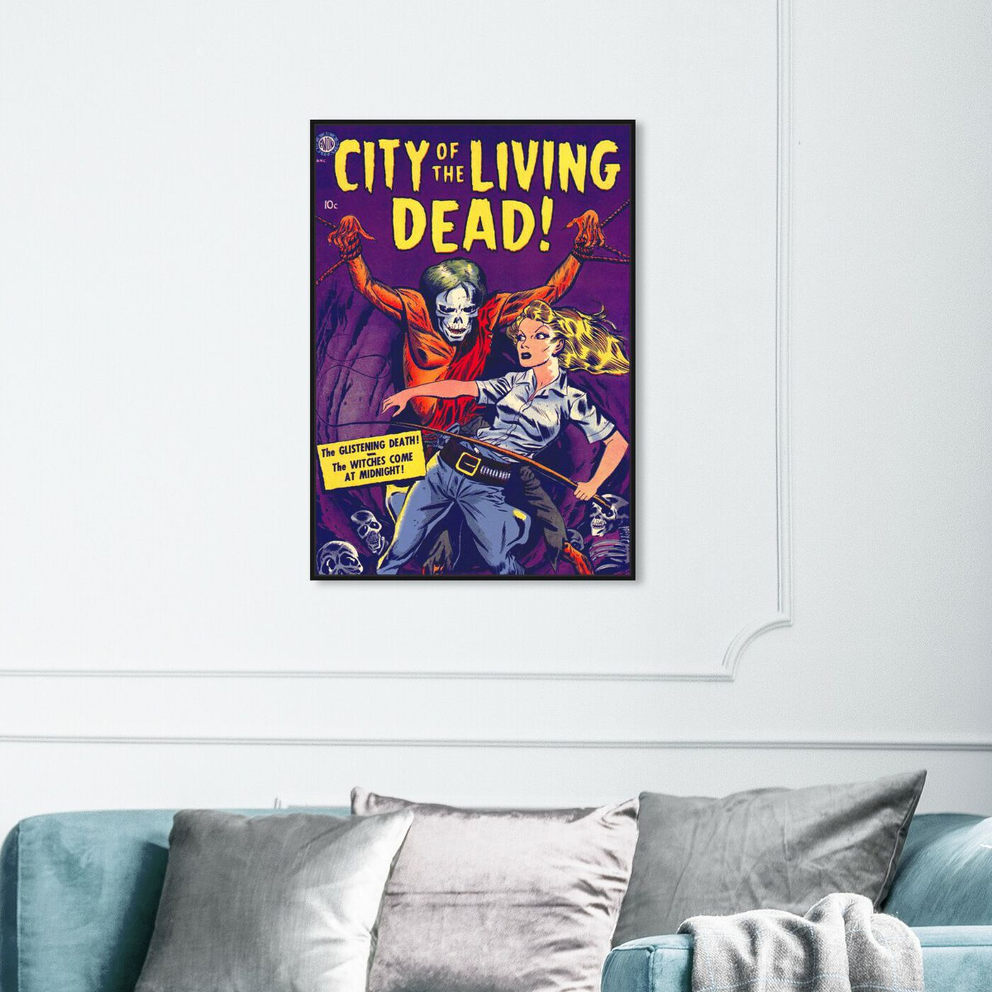 Hanging view of City Of The Living Dead featuring advertising and comics art.
