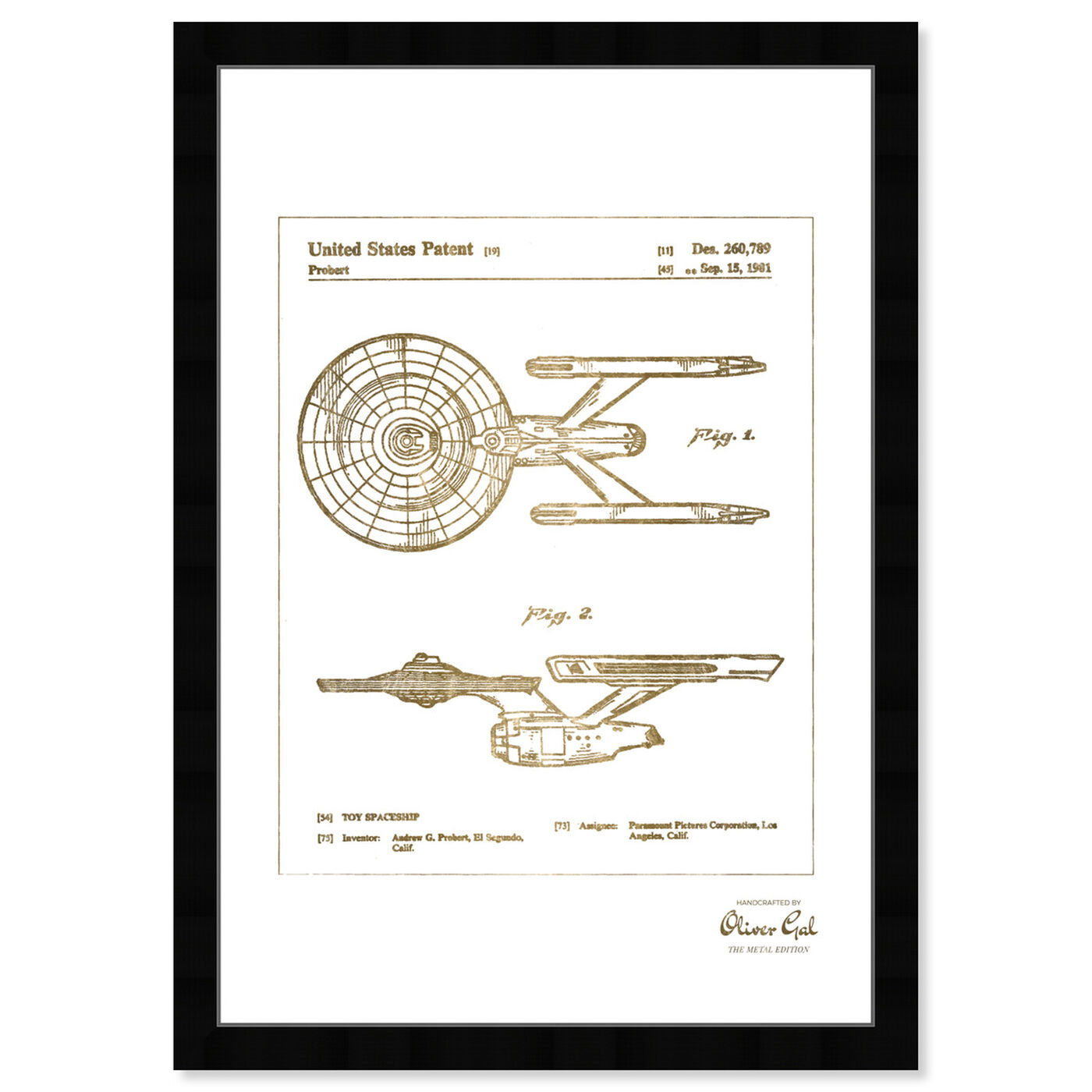 Front view of Enterprise 1981 III Gold featuring movies and tv and science fiction art.