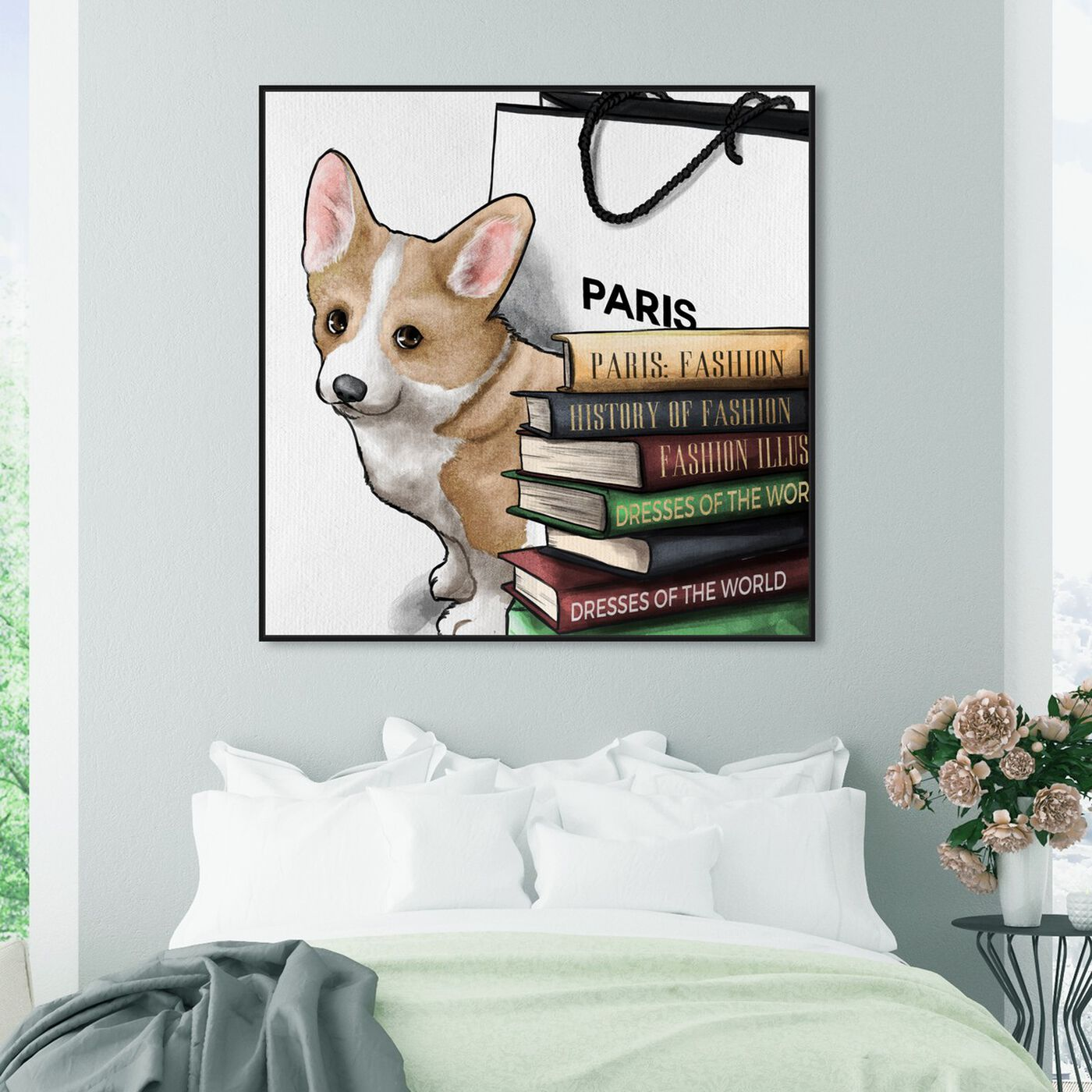 Hanging view of Fashion Books Corgi featuring animals and dogs and puppies art.