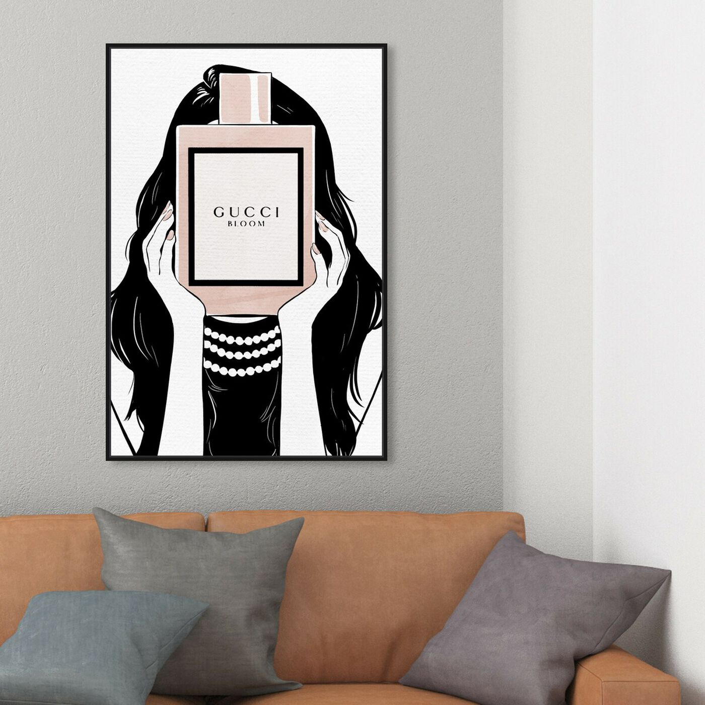 Hanging view of Italian Perfume Girl Artwork featuring fashion and glam and perfumes art.