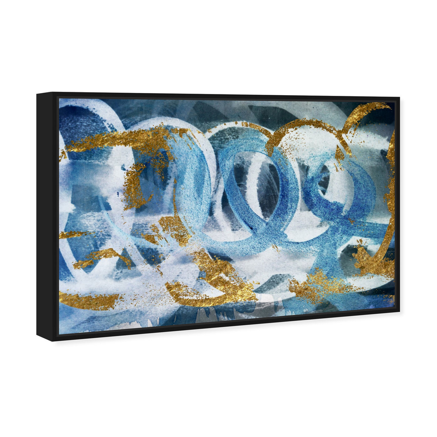 Angled view of Scriptica GOLD and BLUE featuring abstract and paint art.