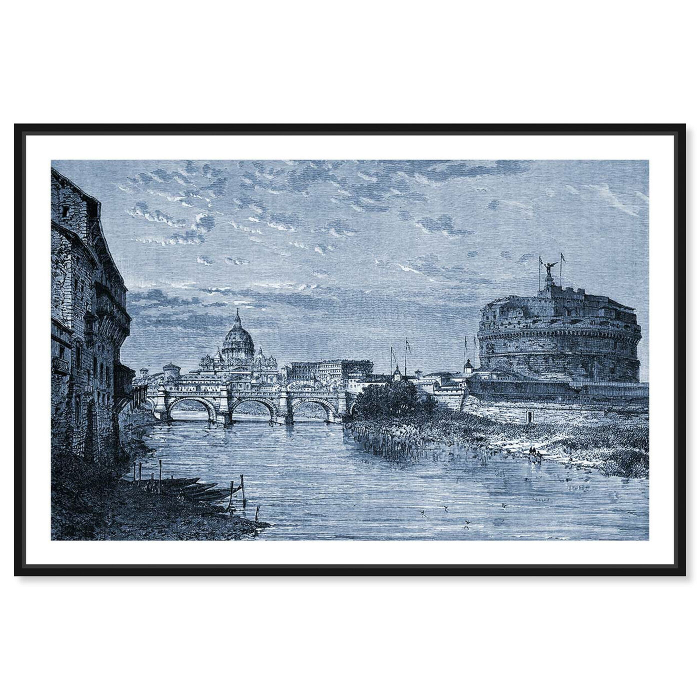 Front view of Castel Sant'Angelo 1864 Engraving featuring architecture and buildings and structures art.